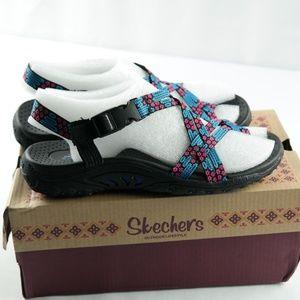 Skechers Reggae Loopy Sandals  Sz 6 Blue Pink